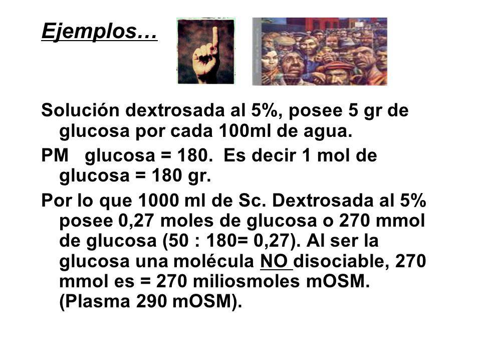 Ejemplos… Solución dextrosada al 5%, posee 5 gr de glucosa por cada 100ml de agua. PM glucosa = 180. Es decir 1 mol de glucosa = 180 gr.