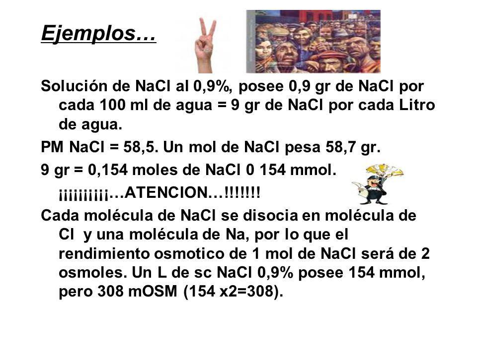 Ejemplos… Solución de NaCl al 0,9%, posee 0,9 gr de NaCl por cada 100 ml de agua = 9 gr de NaCl por cada Litro de agua.