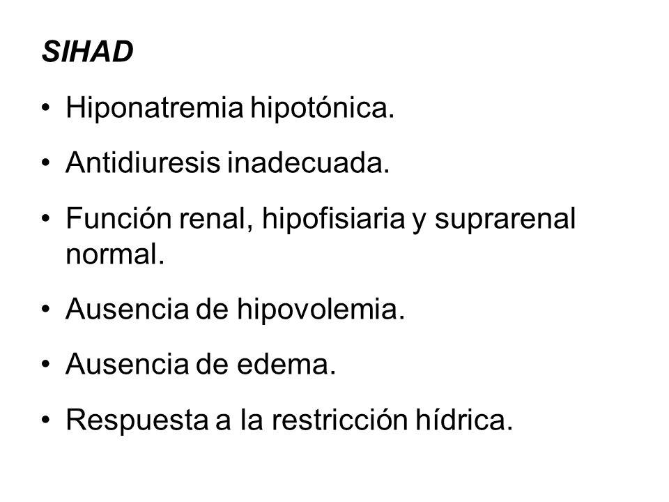 SIHAD Hiponatremia hipotónica. Antidiuresis inadecuada. Función renal, hipofisiaria y suprarenal normal.