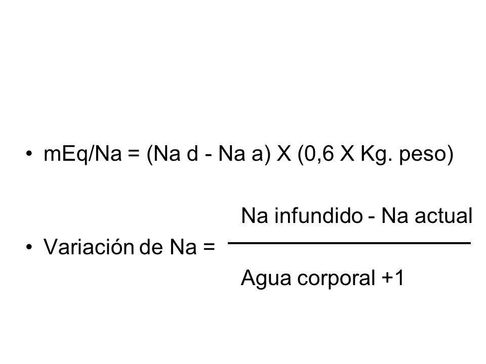 mEq/Na = (Na d - Na a) X (0,6 X Kg. peso)