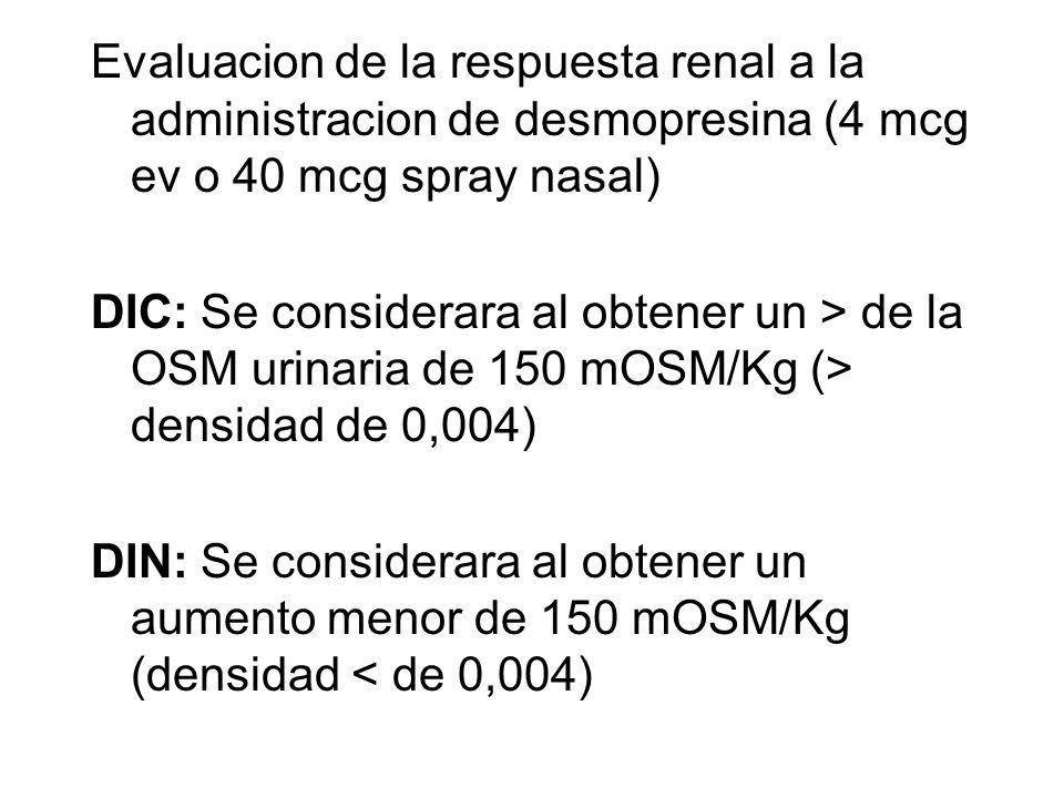 Evaluacion de la respuesta renal a la administracion de desmopresina (4 mcg ev o 40 mcg spray nasal)