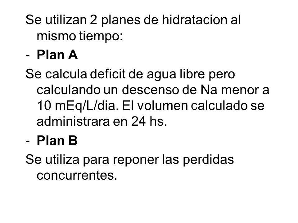 Se utilizan 2 planes de hidratacion al mismo tiempo: