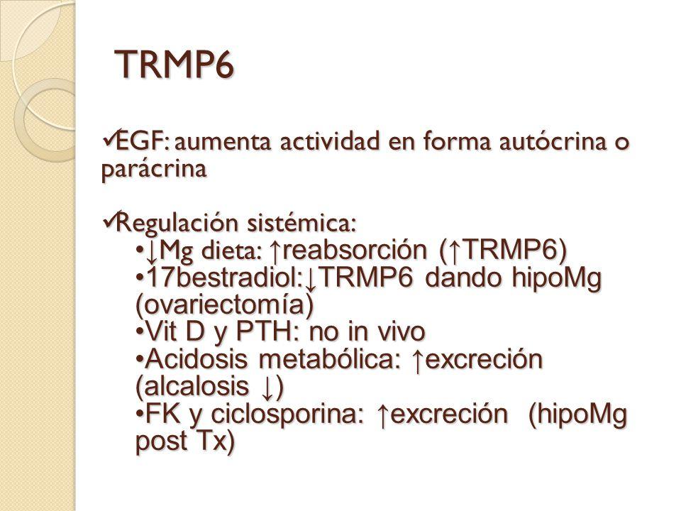 TRMP6 EGF: aumenta actividad en forma autócrina o parácrina