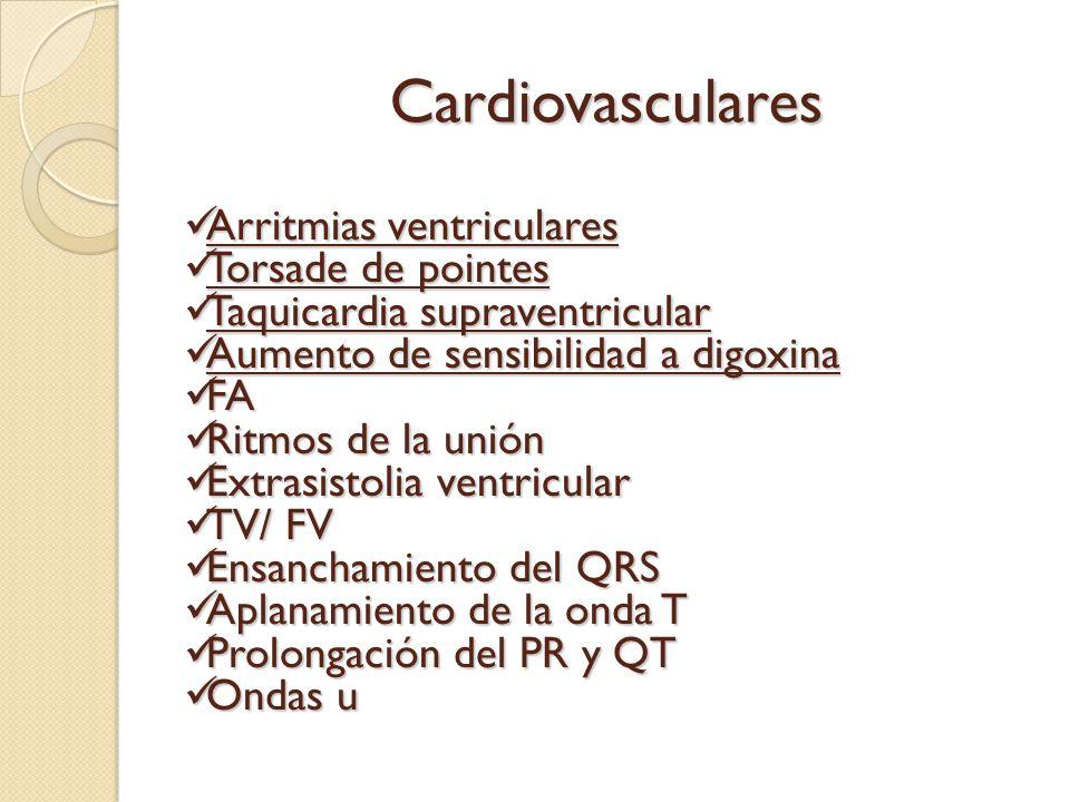 Cardiovasculares Arritmias ventriculares Torsade de pointes