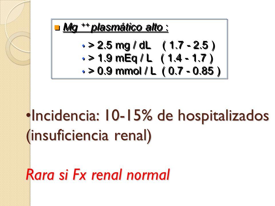 Mg ++ plasmático alto : > 2.5 mg / dL ( 1.7 - 2.5 ) > 1.9 mEq / L ( 1.4 - 1.7 ) > 0.9 mmol / L ( 0.7 - 0.85 )