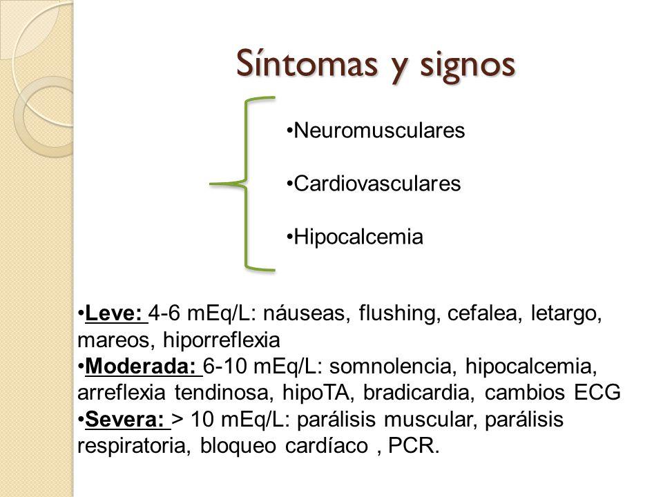 Síntomas y signos Neuromusculares Cardiovasculares Hipocalcemia