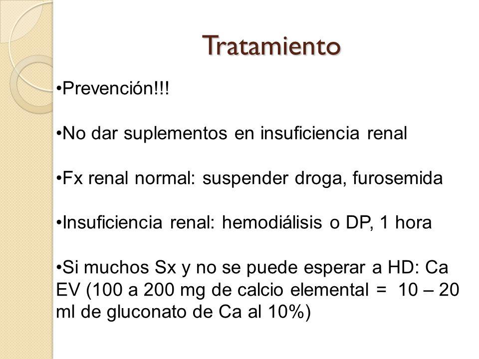 Tratamiento Prevención!!! No dar suplementos en insuficiencia renal