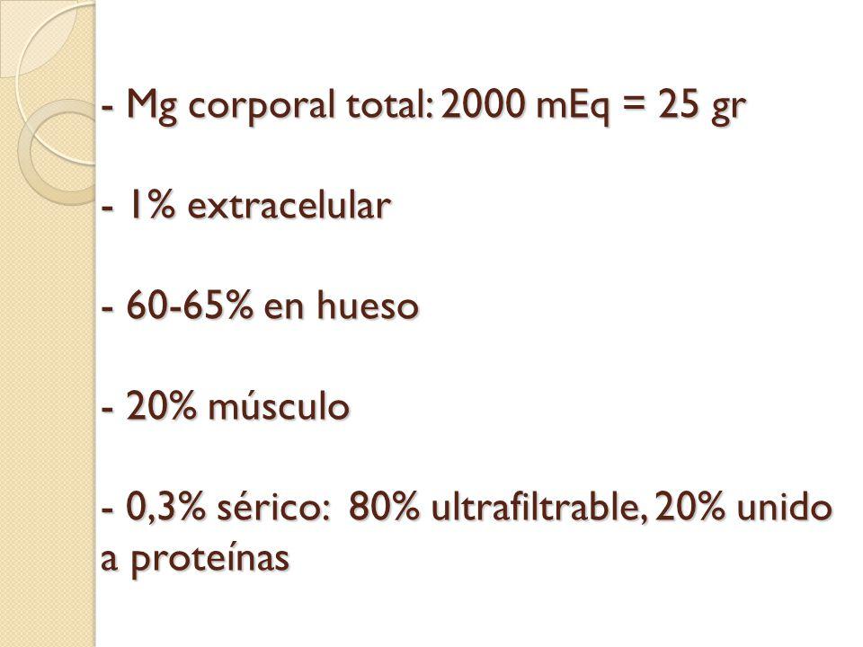 - Mg corporal total: 2000 mEq = 25 gr - 1% extracelular - 60-65% en hueso - 20% músculo - 0,3% sérico: 80% ultrafiltrable, 20% unido a proteínas