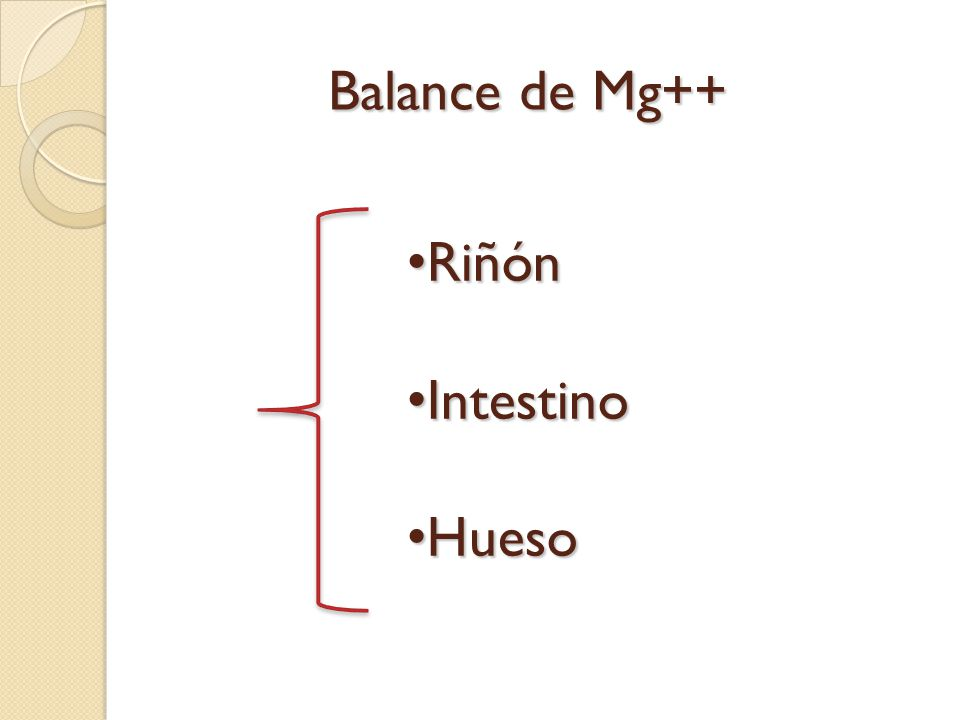 Balance de Mg++ Riñón Intestino Hueso