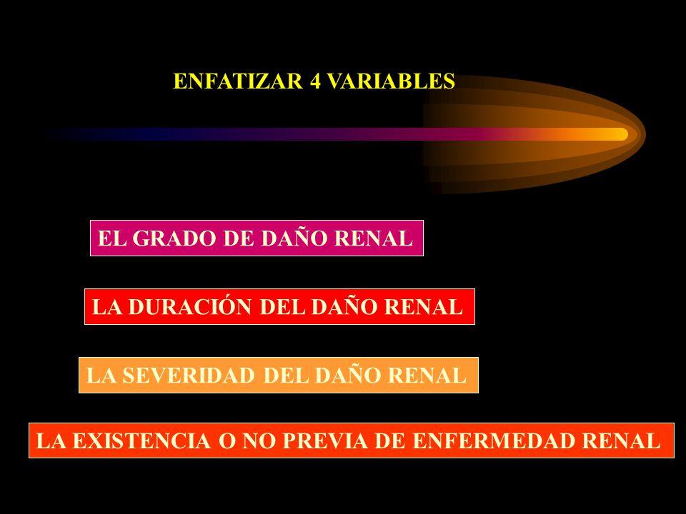 ENFATIZAR 4 VARIABLES EL GRADO DE DAÑO RENAL. LA DURACIÓN DEL DAÑO RENAL. LA SEVERIDAD DEL DAÑO RENAL.