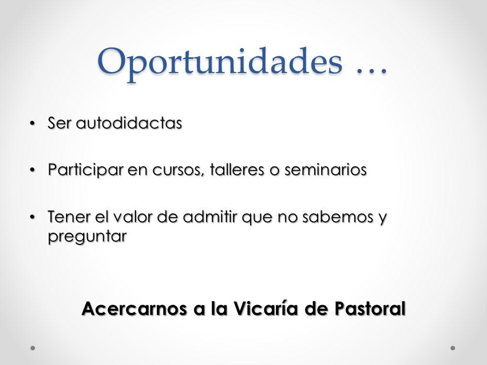 Acercarnos a la Vicaría de Pastoral