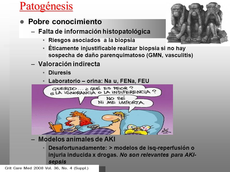 Patogénesis Pobre conocimiento Falta de información histopatológica