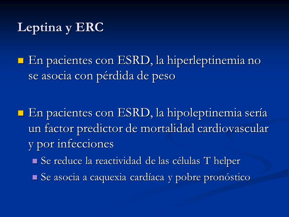 Leptina y ERC En pacientes con ESRD, la hiperleptinemia no se asocia con pérdida de peso.