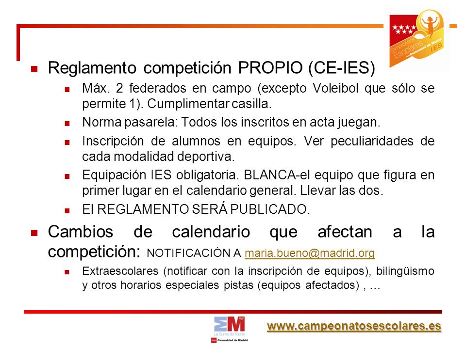 Reglamento competición PROPIO (CE-IES)
