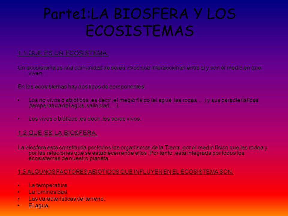 Parte1:LA BIOSFERA Y LOS ECOSISTEMAS