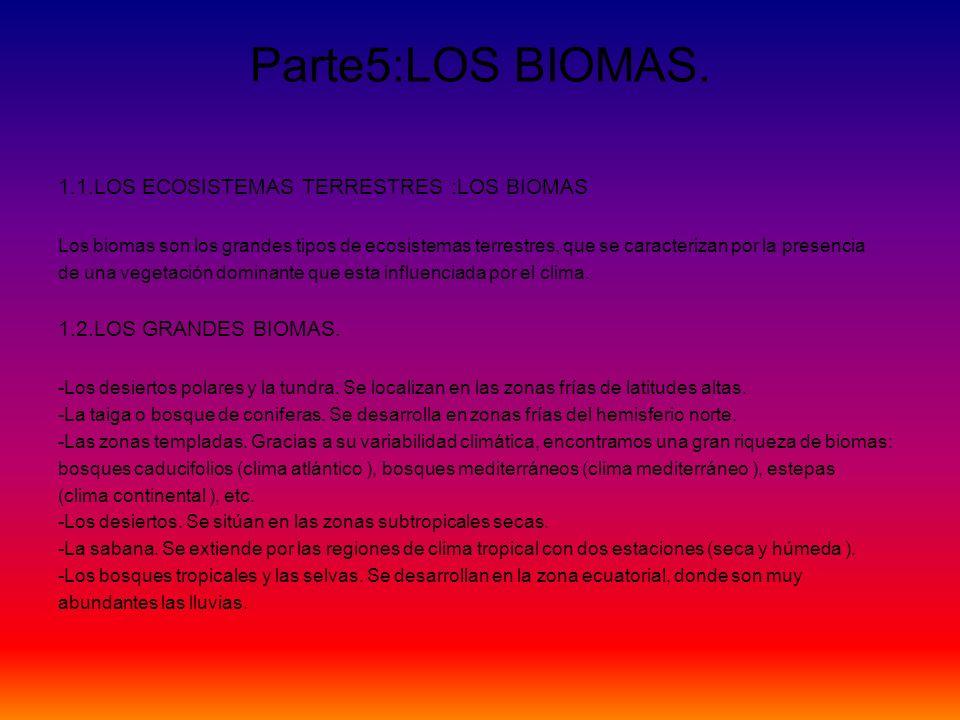 Parte5:LOS BIOMAS. 1.1.LOS ECOSISTEMAS TERRESTRES :LOS BIOMAS