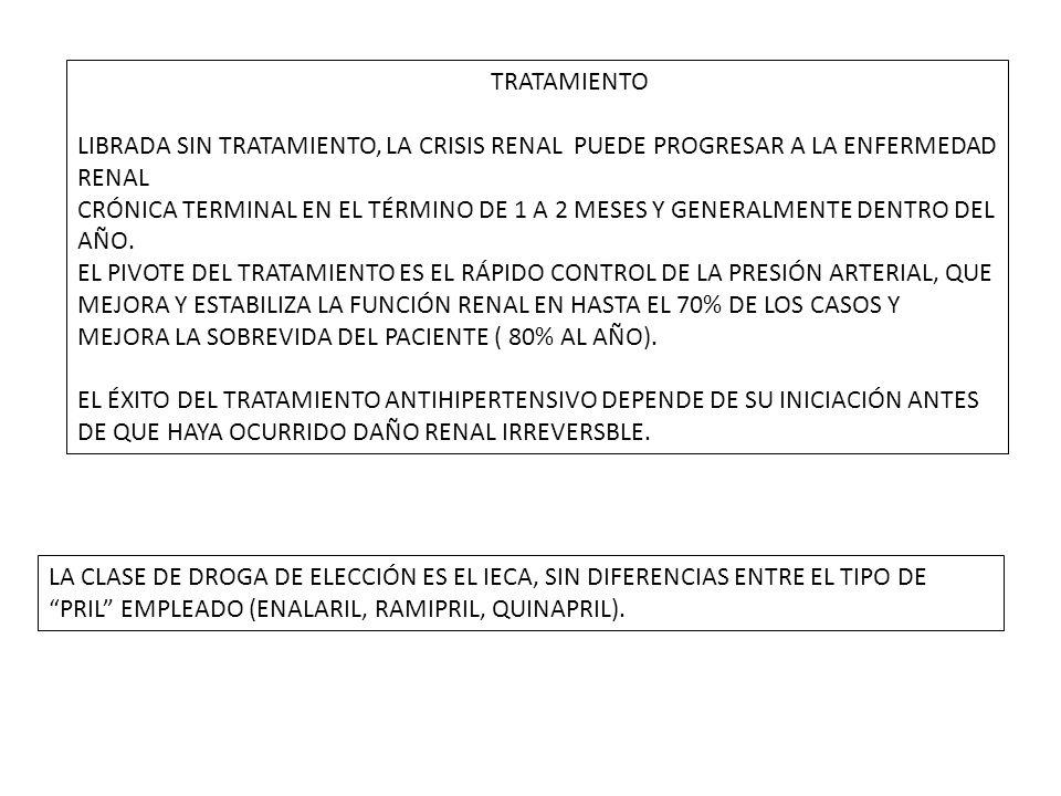 TRATAMIENTO LIBRADA SIN TRATAMIENTO, LA CRISIS RENAL PUEDE PROGRESAR A LA ENFERMEDAD RENAL.