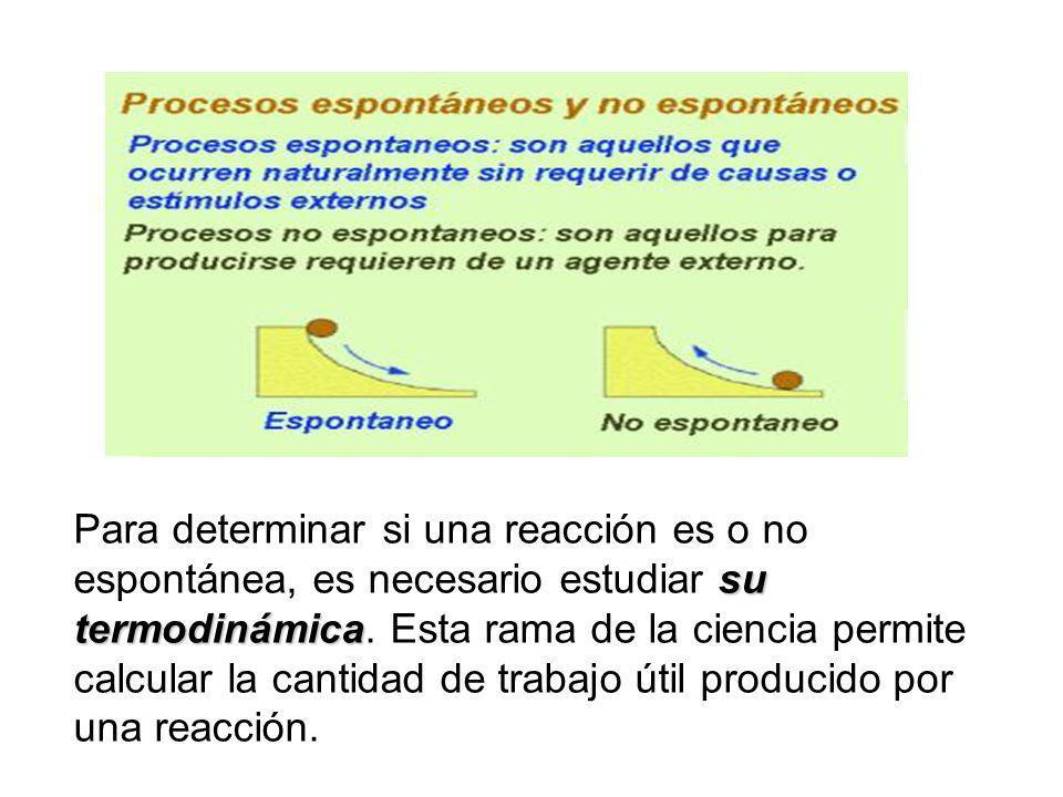 Para determinar si una reacción es o no espontánea, es necesario estudiar su termodinámica.