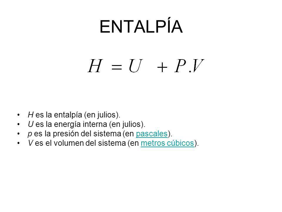 ENTALPÍA H es la entalpía (en julios).