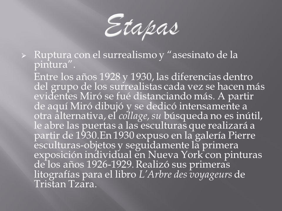 Etapas Ruptura con el surrealismo y asesinato de la pintura .