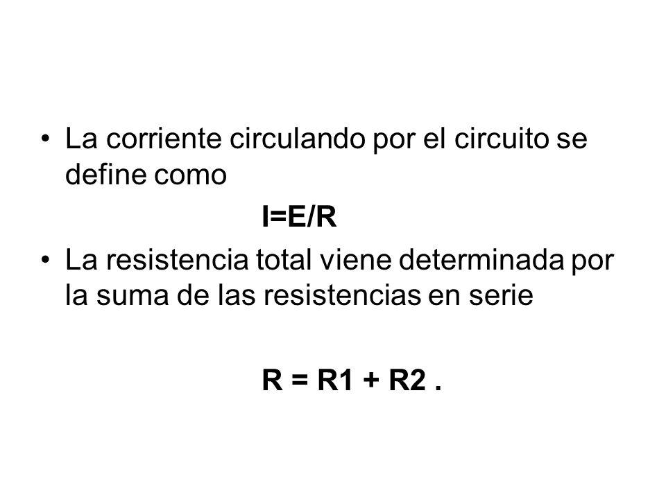 La corriente circulando por el circuito se define como