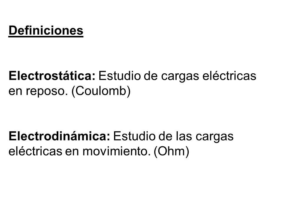 Definiciones Electrostática: Estudio de cargas eléctricas en reposo. (Coulomb)