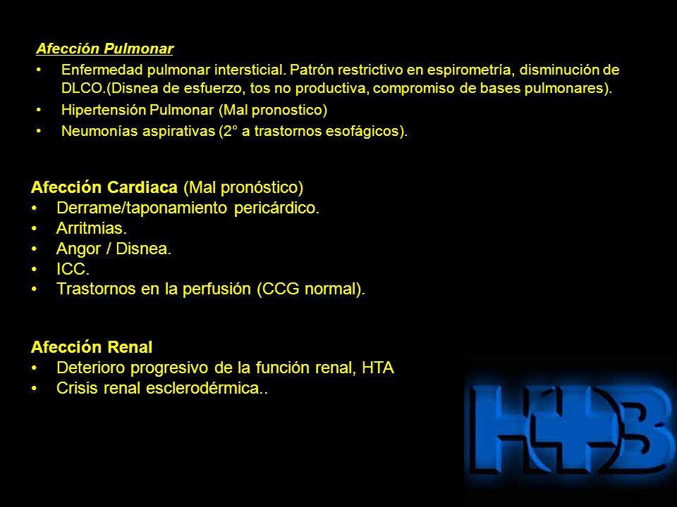 Afección Cardiaca (Mal pronóstico) Derrame/taponamiento pericárdico.