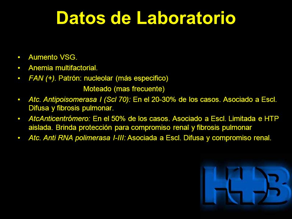 Datos de Laboratorio Aumento VSG. Anemia multifactorial.