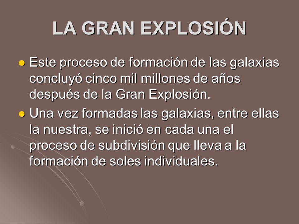LA GRAN EXPLOSIÓN Este proceso de formación de las galaxias concluyó cinco mil millones de años después de la Gran Explosión.