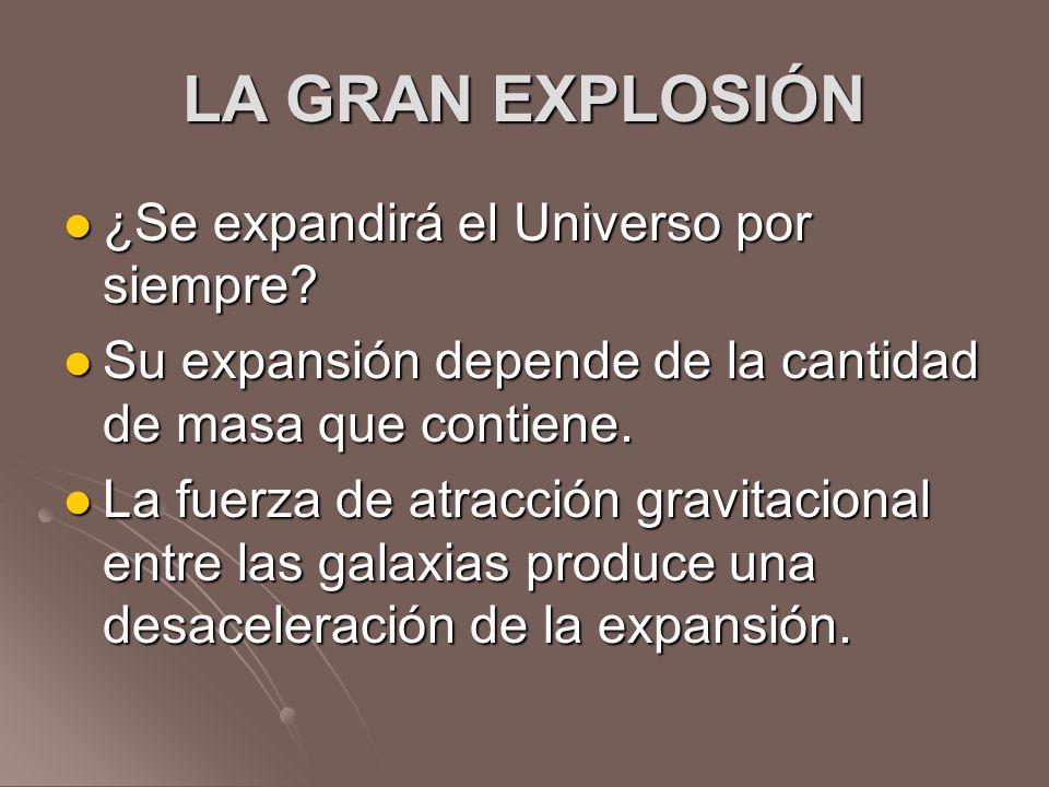 LA GRAN EXPLOSIÓN ¿Se expandirá el Universo por siempre