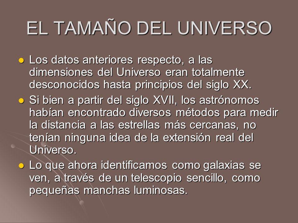 EL TAMAÑO DEL UNIVERSOLos datos anteriores respecto, a las dimensiones del Universo eran totalmente desconocidos hasta principios del siglo XX.