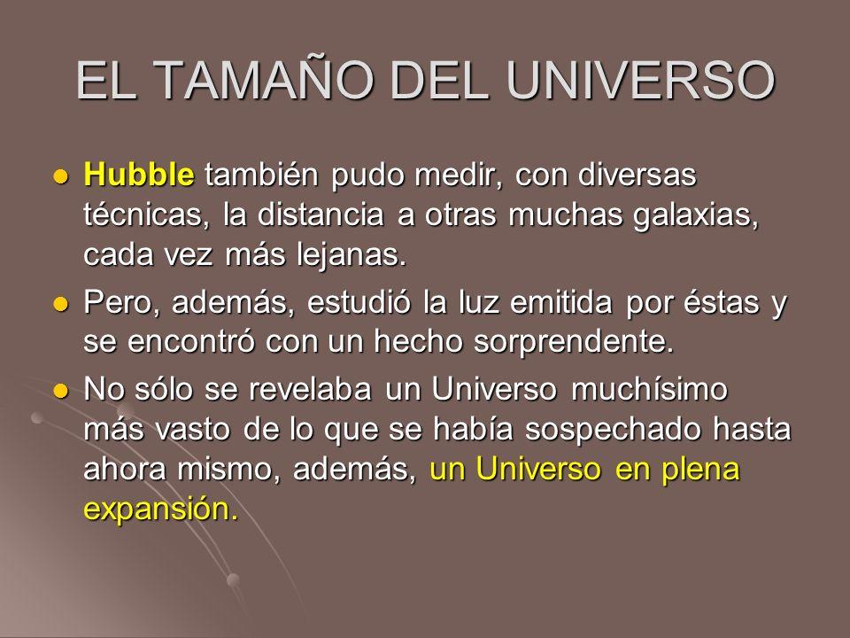 EL TAMAÑO DEL UNIVERSOHubble también pudo medir, con diversas técnicas, la distancia a otras muchas galaxias, cada vez más lejanas.