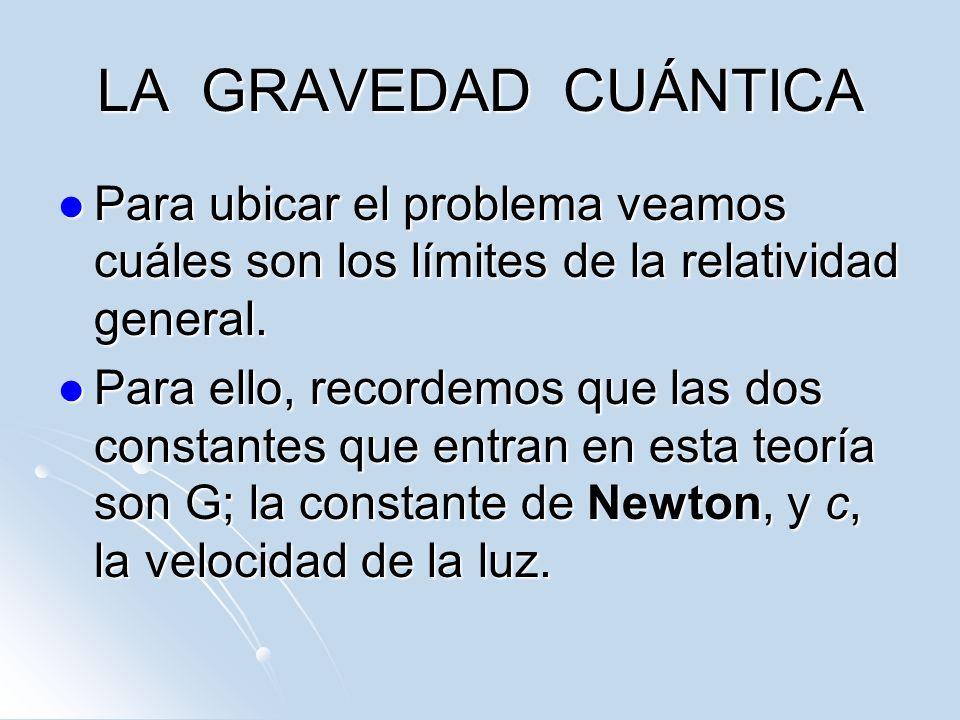 LA GRAVEDAD CUÁNTICA Para ubicar el problema veamos cuáles son los límites de la relatividad general.