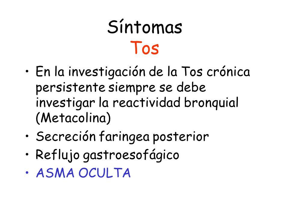 Síntomas Tos En la investigación de la Tos crónica persistente siempre se debe investigar la reactividad bronquial (Metacolina)