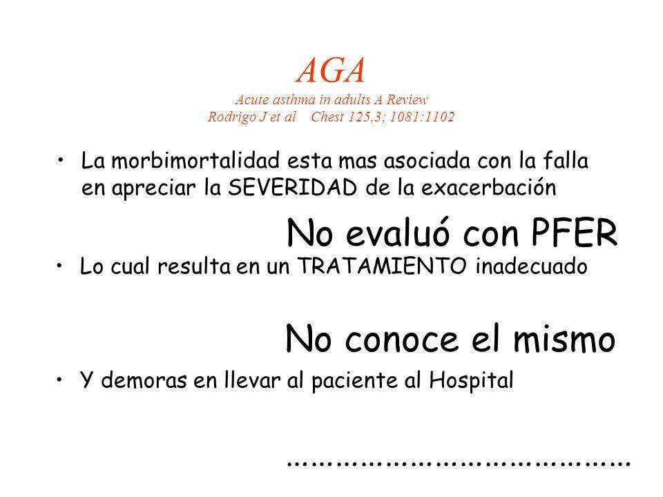AGA Acute asthma in adults A Review Rodrigo J et al Chest 125,3; 1081:1102