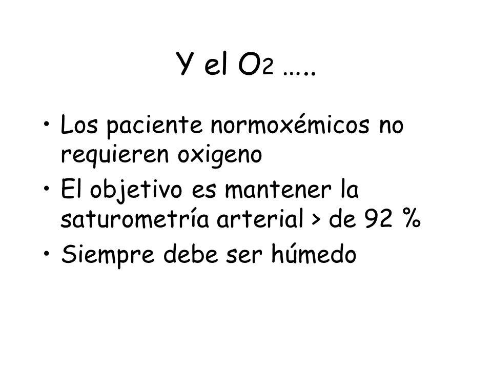 Y el O2 ….. Los paciente normoxémicos no requieren oxigeno