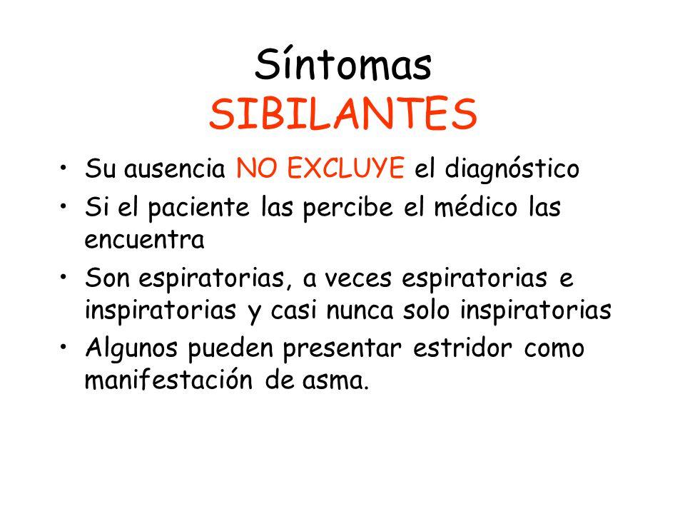 Síntomas SIBILANTES Su ausencia NO EXCLUYE el diagnóstico