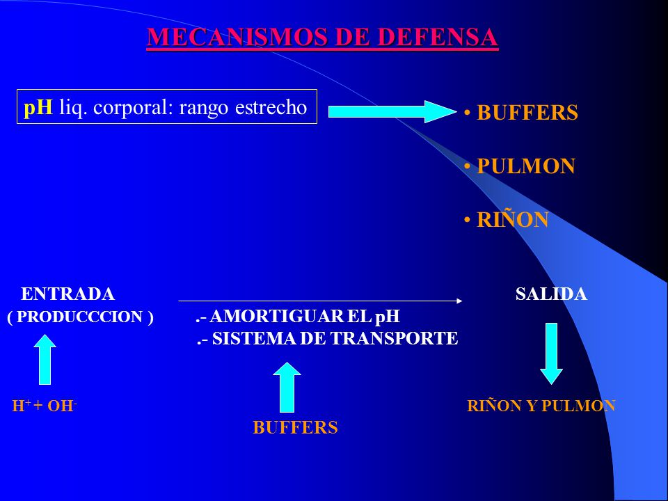 MECANISMOS DE DEFENSA pH liq. corporal: rango estrecho BUFFERS PULMON