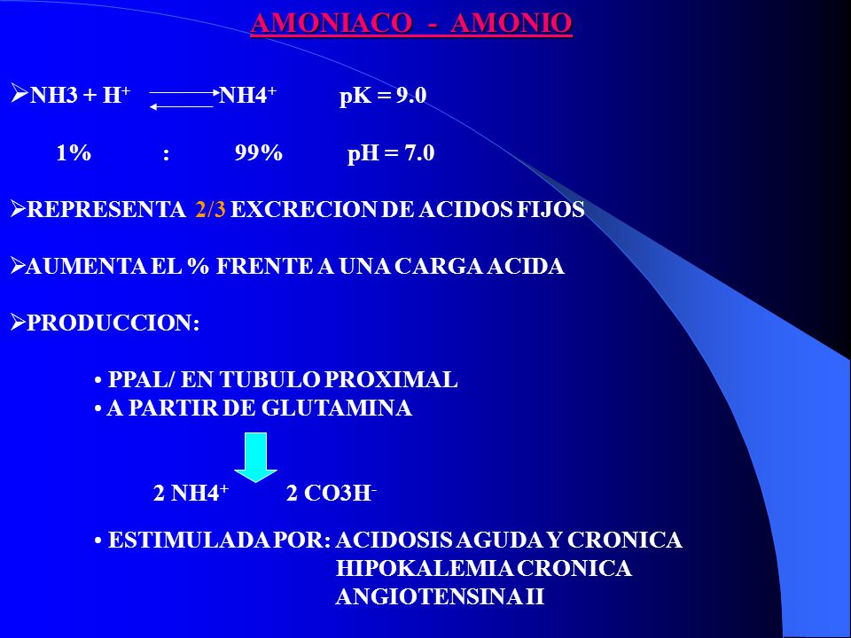 AMONIACO - AMONIO NH3 + H+ NH4+ pK = 9.0 1% : 99% pH = 7.0