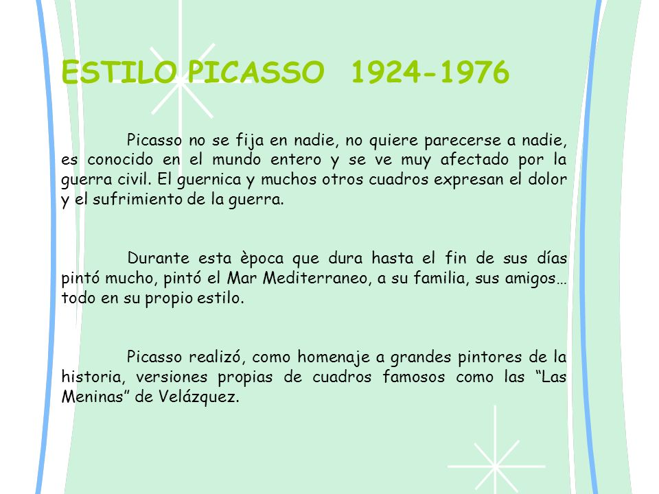 ESTILO PICASSO 1924-1976