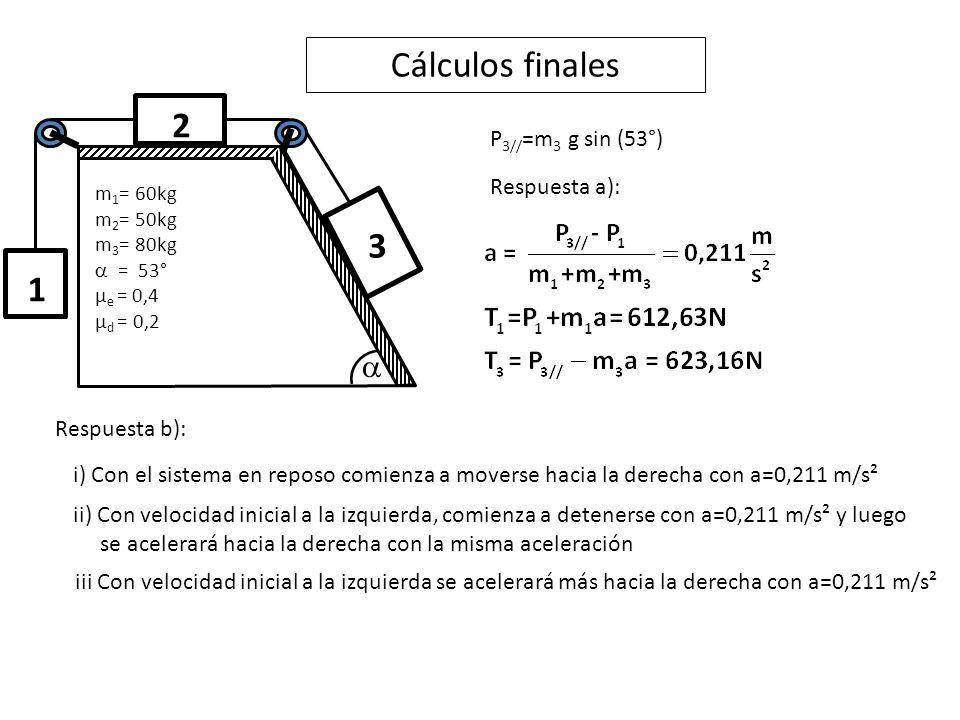 Cálculos finales 2 3 1  P3//=m3 g sin (53°) Respuesta a):