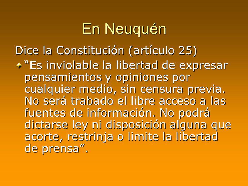En Neuquén Dice la Constitución (artículo 25)