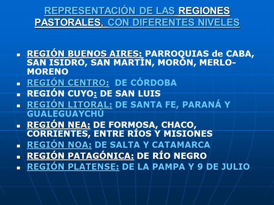 REPRESENTACIÓN DE LAS REGIONES PASTORALES, CON DIFERENTES NIVELES