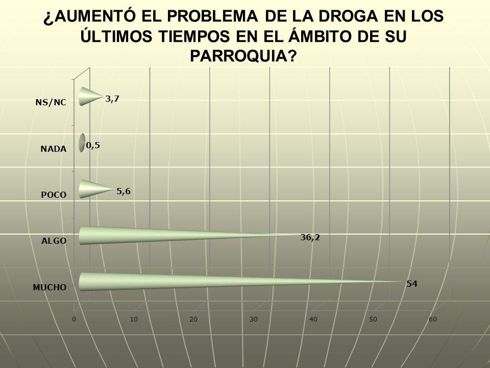 ¿AUMENTÓ EL PROBLEMA DE LA DROGA EN LOS ÚLTIMOS TIEMPOS EN EL ÁMBITO DE SU PARROQUIA