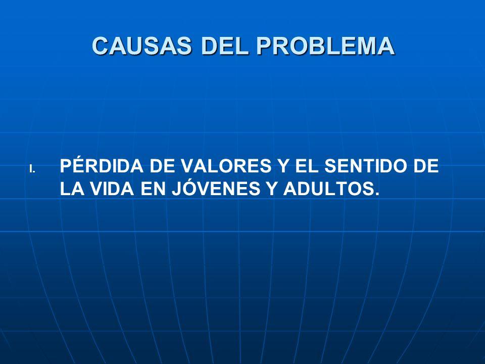 CAUSAS DEL PROBLEMA PÉRDIDA DE VALORES Y EL SENTIDO DE LA VIDA EN JÓVENES Y ADULTOS.