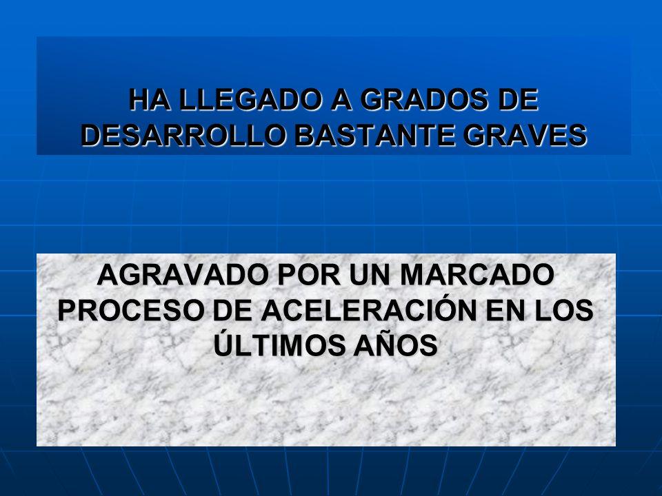 HA LLEGADO A GRADOS DE DESARROLLO BASTANTE GRAVES