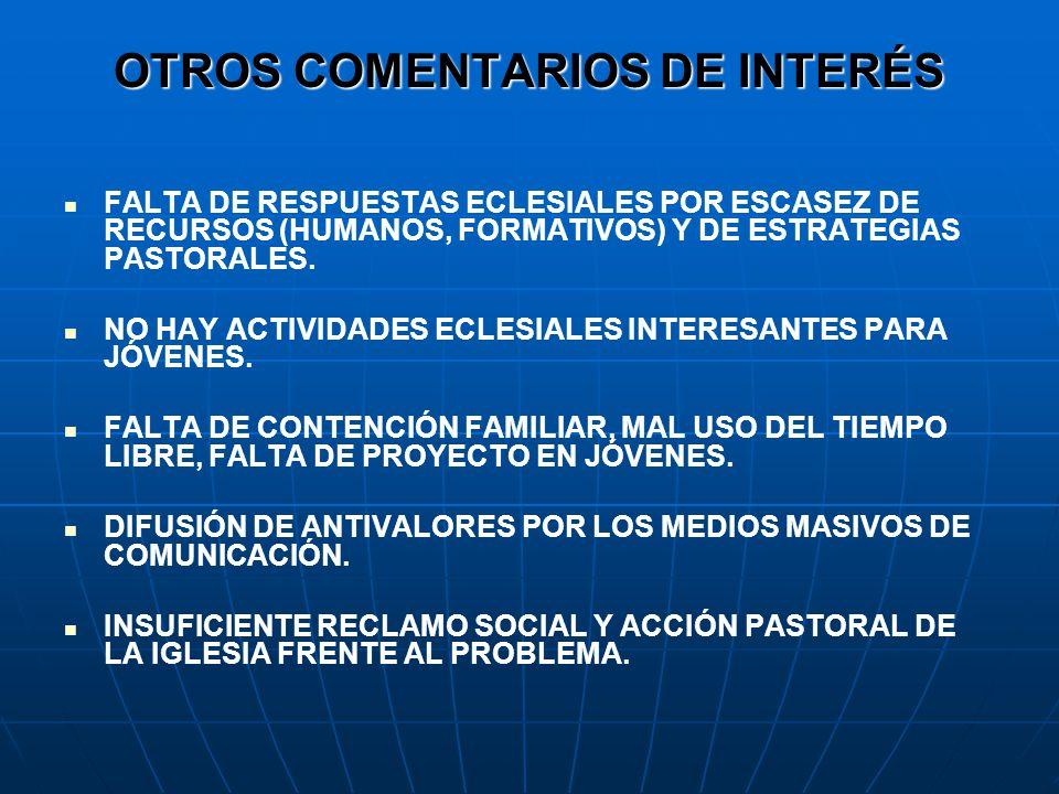 OTROS COMENTARIOS DE INTERÉS