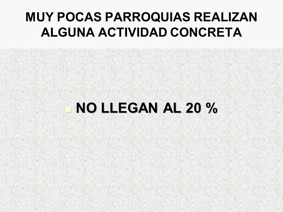 MUY POCAS PARROQUIAS REALIZAN ALGUNA ACTIVIDAD CONCRETA