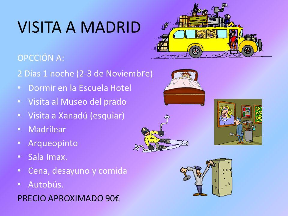 VISITA A MADRID OPCCIÓN A: 2 Días 1 noche (2-3 de Noviembre)