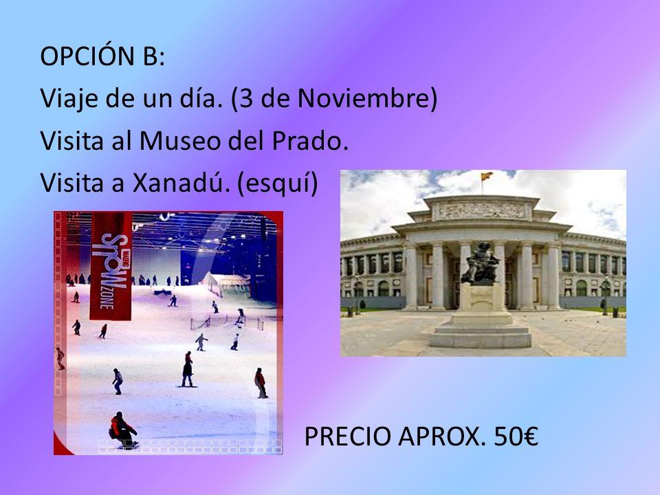 OPCIÓN B: Viaje de un día. (3 de Noviembre) Visita al Museo del Prado